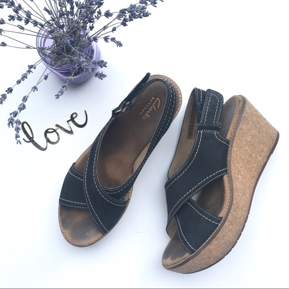 Clarks Shoes - Clark's Black Strapped Wedges
